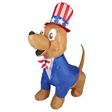 5 Foot Patriotic Airblown Inflatable Uncle Sam Dog 4th of July Lighted Gemmy