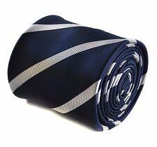 Frederick Thomas bleu marine et blanc club rayé homme cravate FT1614