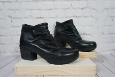 Women's Sanita Icon Black Explorer Pleated Ankle Boots 7 EU 38