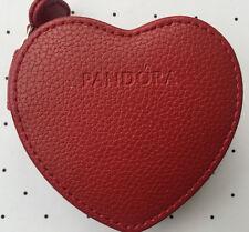 Pandora Red Heart Leather zip round jewellery case box Case Authentic Ltd Ed