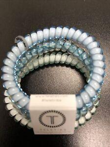 Teleties 3 Pack Small Hair Ties Blue Me Away Ponytail Holder Bracelets NEW