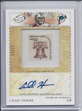 CHAD HENNE 2011 TOPPS LEGENDS STAMP OF APPROVAL AUTO #D 10/10