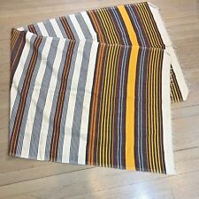 "Light Weight Striped Blanket Throw Fringe White Red Yellow Green Cotton 30""x82"""