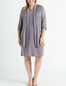 R & M Richards Plus Size Shift Dress & Metallic Jacket $99 Sz14W/16W # 2NB 534 B
