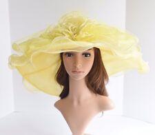 "D31 Kentucky Derby Church Wedding 3 Layers 7"" Wide Brim Organza hat Yellow"
