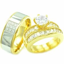 His Hers 3 Pcs Womens Engagement Stainless Steel & Mens Wedding Bridal Rings Set