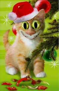 Christmas Twisted Whiskers Whimsical Cat Red Santa Hat Greeting Card