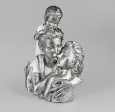 720610 Familie weiss-silber 46cm kunsthandwerklicher Deko-Artikel aus Kunststein