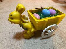 Vintage Big Easter Bunny Blow Mold Cart