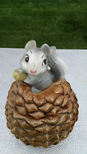 SQUIRREL COOKIE JAR METLOX MADE IN USA VINTAGE PINECONE ACORN NUT CUTE RARE