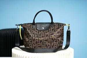 Longchamp Le Pliage LGP Tote Classic Letters KHAKI Handbag Medium From France
