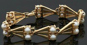 Vintage heavy 14K gold beautiful 5.7mm pearl 13.2mm wide fancy link bracelet