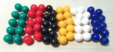 "60 CHINESE CHECKERS Solid Plastic Marbles 6 colors - 9/16"" / 14mm"