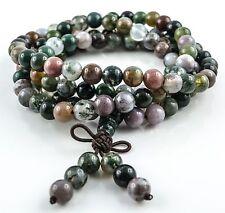 Mala Buddha Gebetskette Achat 108 Perlen Rudraksha OM AUM Tibet Indien (TG00286)
