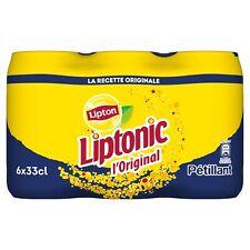 LIPTON Liptonic Boisson au thé Ice Tea - Pack de 6 canettes de 33cL