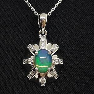 World Class 1.60ctw Opal & Diamond Cut White Sapphire 925 Silver Pendant
