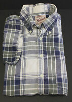Woolrich Short Sleeve Shirt Plaid Check Button Front Size L