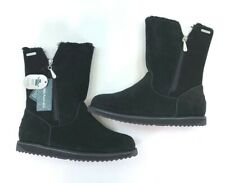 EMU Australia Gravelly Boots Black Cow Suede Sheepskin Fur Lined 9 Womens