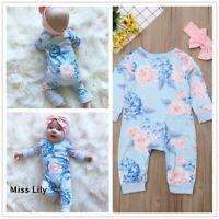 Newborn Baby Bodysuit Bow UK Floral strappy Outfit Playsuit Jumpsuit 3Pcs