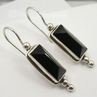925 Solid Silver Rectangle Black Onyx 10.0 tcw Dangle Earrings Handmade Gift