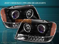 99-03 04 JEEP GRAND CHEROKEE PROJECTOR HEADLIGHTS TWIN HALO BLACK LED