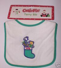 Appliqued Filled Stocking Holiday Christmas Bib Green Trim Terry Cloth Cutie Pie