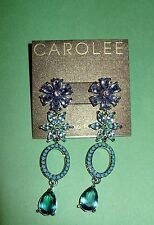 NWT CAROLEE  MULTI -COLORED Crystal Flowers Statement Earrings Gorgeous