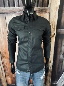 Polo Ralph Lauren Dungarees LS Black Western Style Button Snap Shirt Size Small