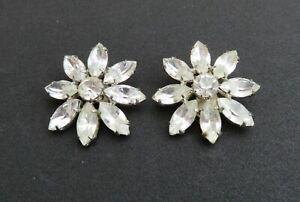 Vintage Costume Jewellery Clip On Earrings Flower Shaped Rhinestones 1
