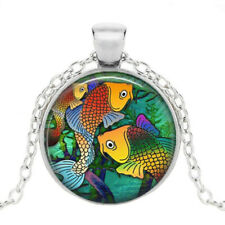 Fish Jewelry Sea Life Necklace Silver Fish Necklace Glass Tile Jewelry