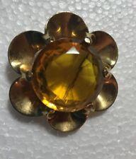 TRIFARI w/ Crown  FUR CLIP Large Yellow Amber Stone Jewerly Gold Tone