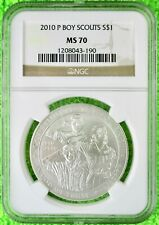 2010-P Boy Scouts of America Centennial Silver Commemorative Dollar MS70 NGC