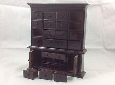Dollhouse Miniature Furniture Choco Brown Wood 15 Drawers Shelf Cabinet 1:12