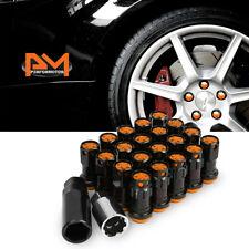 M12X1.25 Orange JDM Wheel Rim Lug Nuts+Spline Locks+Key+Extension 22mmx45mm 20Pc