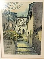 Antique Marcel Julien Baron (1872-1956) French Etching Hand Colored Art Picture