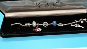 """KAY JEWELERS CHARMED MEMORIES STERLING SILVER CHARMED BRACELET """"7 CHARMS INCLUDE"""