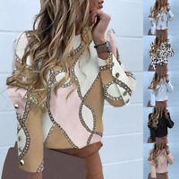 New Women Shirt Blouse Long Sleeve Button O Neck Spring Fall Casual Fashion Hot