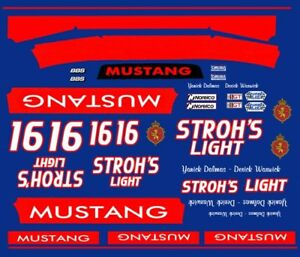 #16 STROH'S Light Mustang Group 5 1/43rd Scale Slot Car Decals