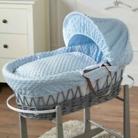 Blue Dimple Grey Wicker Moses Basket