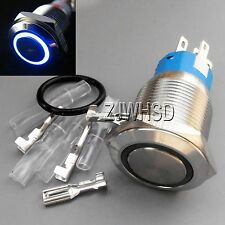 19mm 110V BLUE Led Angel Eye Push Button Metal ON-OFF Switch Connector O-ring