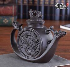 Handmade ceramic teapot dragon boat a teapot kung fu tea pot three cups NEW