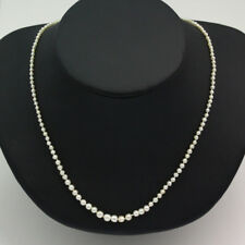 """16 """" Long Natural Pearl Necklace W/ Antique 14k Yellow Gold Ruby & Diamond Clasp"""