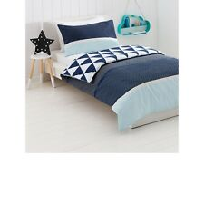 Kids Boys Zigzag Quilt Doona Cover Pillowcase Set Double Bed