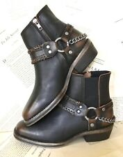 Free People Biker Boot Chelsea brown Leather Harness Chain Ankle Zip 39/9 NEW