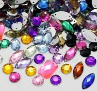 150 x Mixed Shape Colour Sew on Acrylic Diamante Crystal Gems Rhinestone 8-15mm