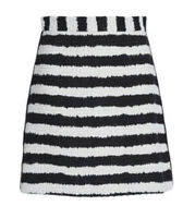 MSGM Sz 40 Boucle Tweed Black & White Striped Mini Skirt With Red Side Stripes