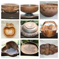 Old Primitive Vintage Wooden Trencher Dough Bowl Basket Hewn Carved Wood Rustic