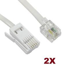 2M RJ11 to BT Cable Modem FAX Telephone Landline Phone Male Plug BT Socket UK 2X