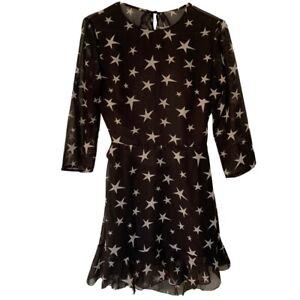 Free People Homemade Sheer Black Star Open Back Ruffles Mini Dress Large RARE