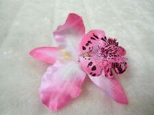 Pince clip cheveux fleur orchidée rose coiffure pin-up rétro rockabilly